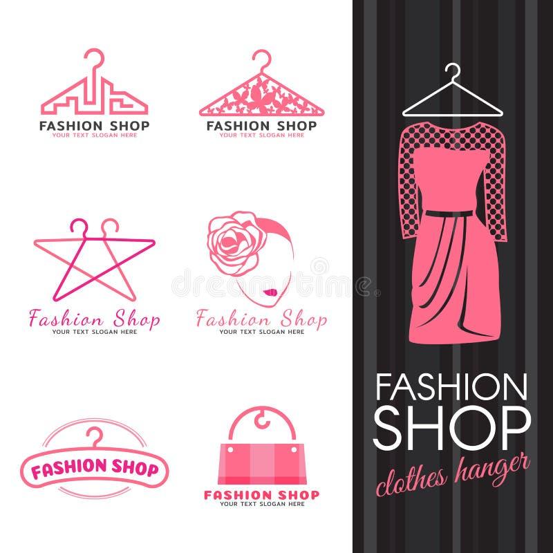 Adatti il logo del negozio - vettore rosa di logo del fronte della donna e della gruccia per vestiti progettazione stabilita royalty illustrazione gratis