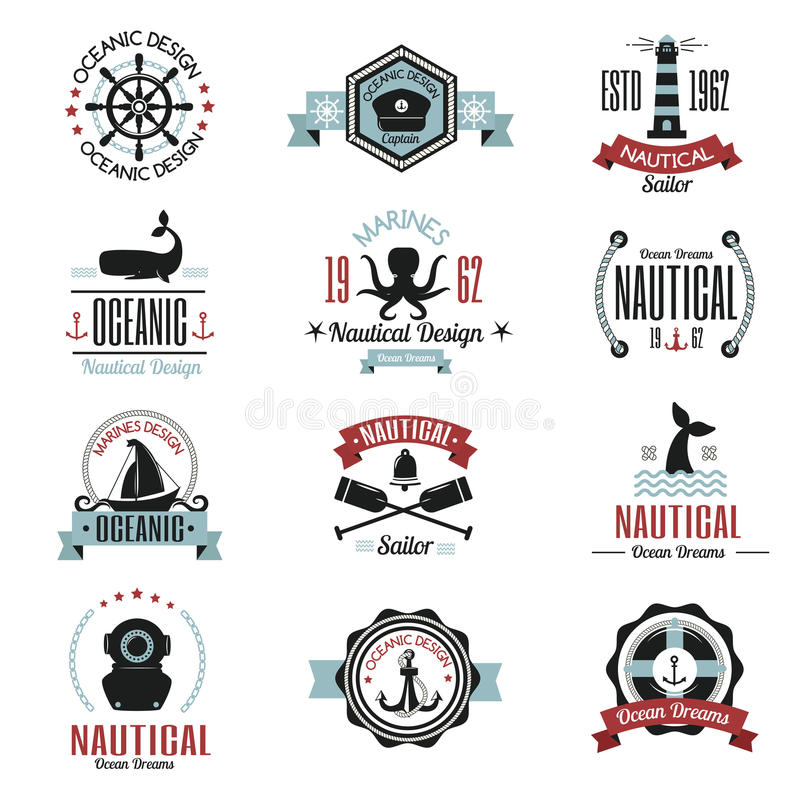 Adatti il logo nautico che naviga l'etichetta di tema o l'icona con l'elemento del volante della corda dell'ancora del segno dell illustrazione vettoriale