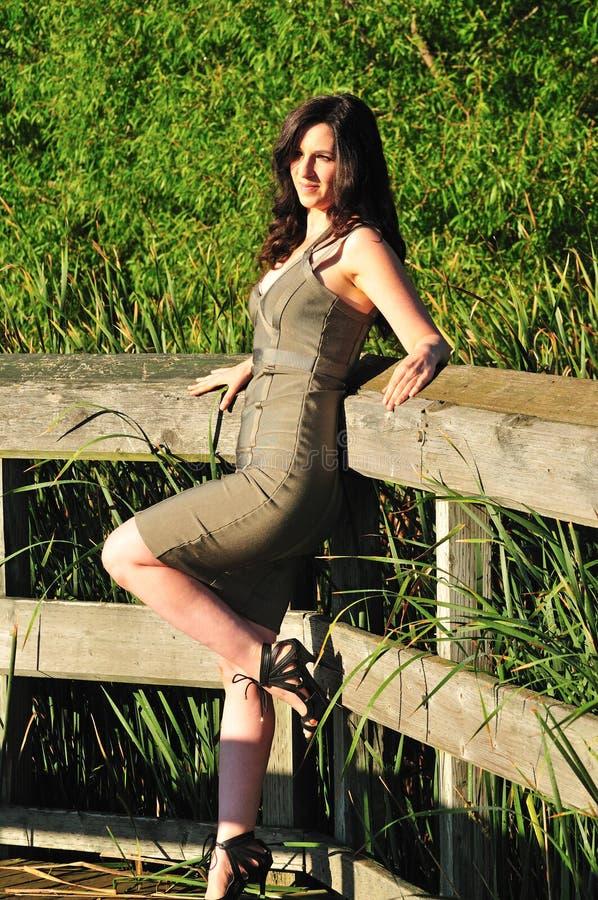 Adatti il portrit della donna castana attraente nei dres verdi stretti immagine stock libera da diritti