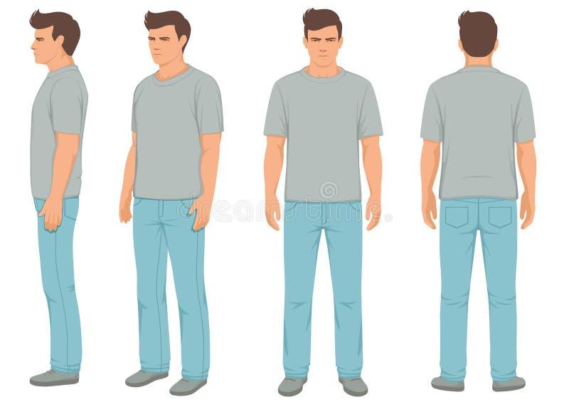 adatti l'uomo isolato, la parte anteriore, la parte posteriore e la vista laterale, illustrazione di stock