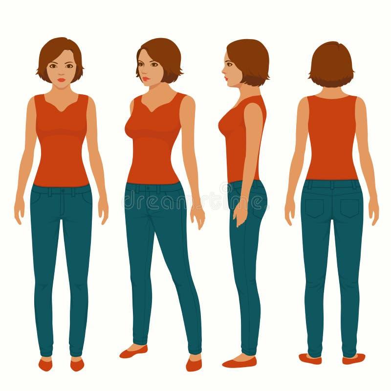 adatti la donna isolata, la parte anteriore, la parte posteriore e la vista laterale royalty illustrazione gratis