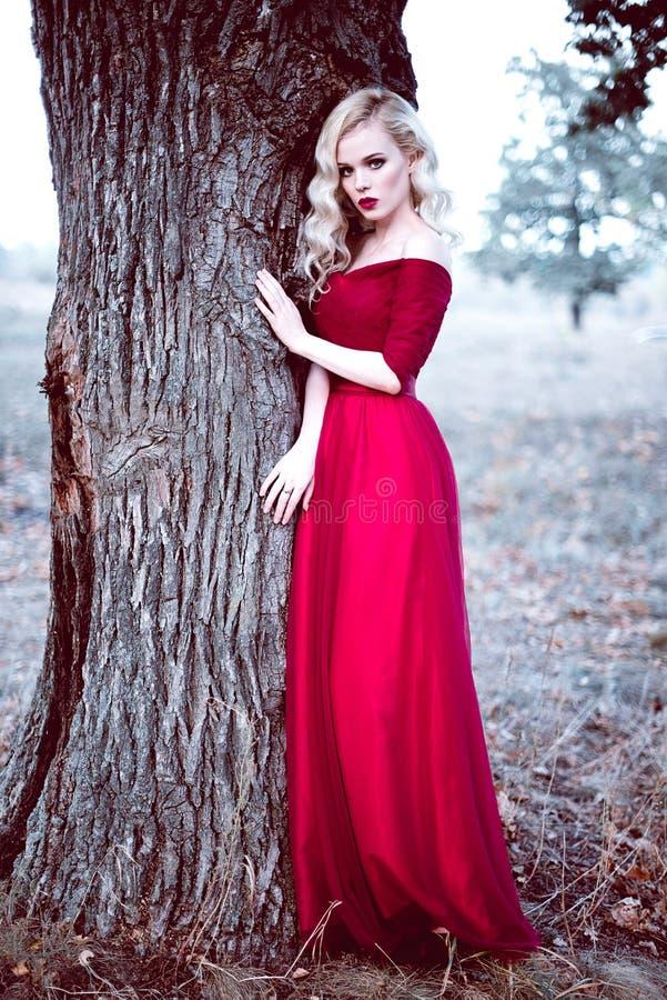 Adatti la giovane donna bionda splendida in bello vestito rosso in un'atmosfera di magia della foresta di fiaba Retouched che ton immagini stock