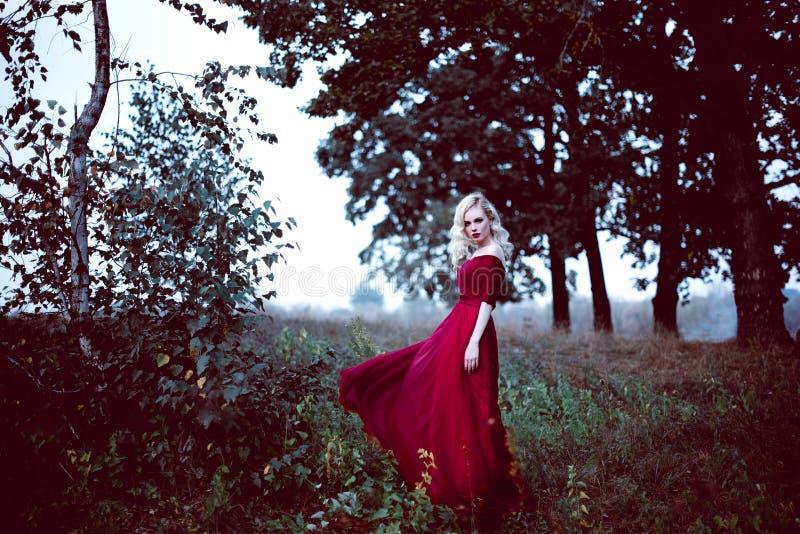 Adatti la giovane donna bionda splendida in bello vestito rosso in un'atmosfera di magia della foresta di fiaba Retouched che ton immagini stock libere da diritti