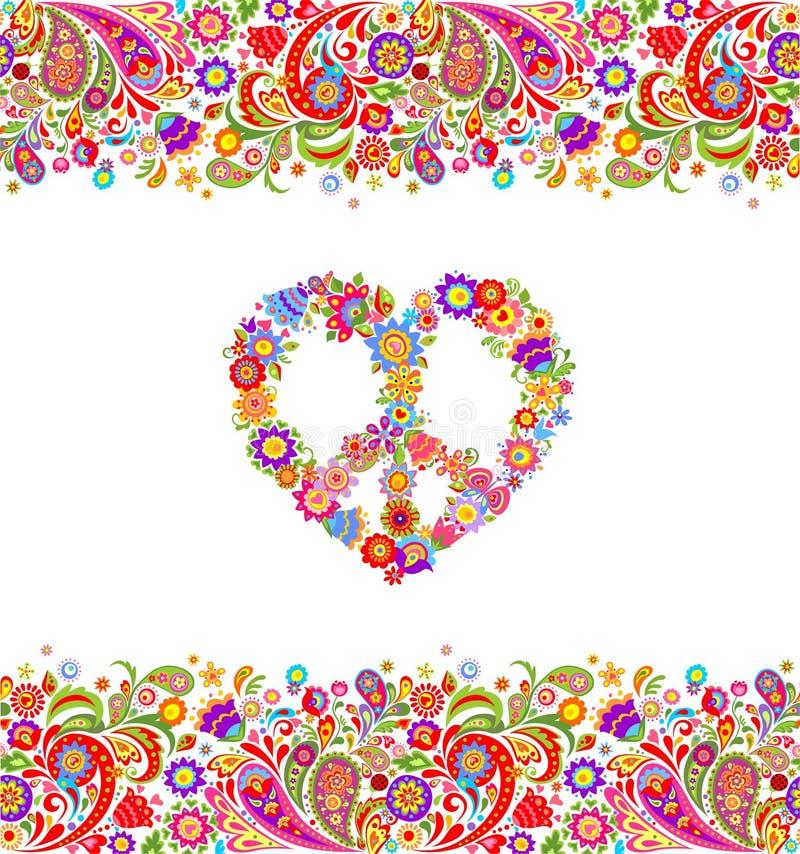 Adatti la progettazione con il simbolo senza cuciture estivo floreale variopinto dei fiori di pace di hippy e del confine per la  illustrazione di stock