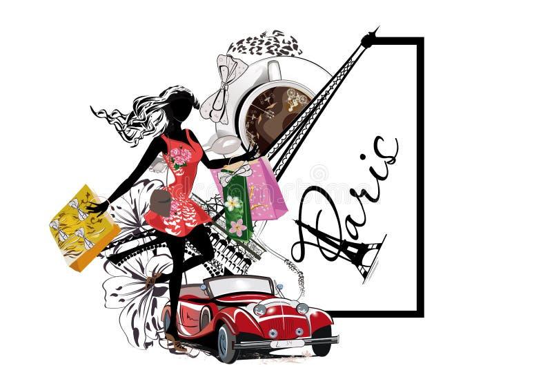 Adatti la ragazza con acquisto lungo dei capelli a Parigi illustrazione di stock