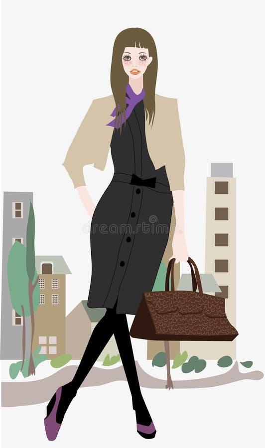 Adatti la ragazza con il sacchetto royalty illustrazione gratis