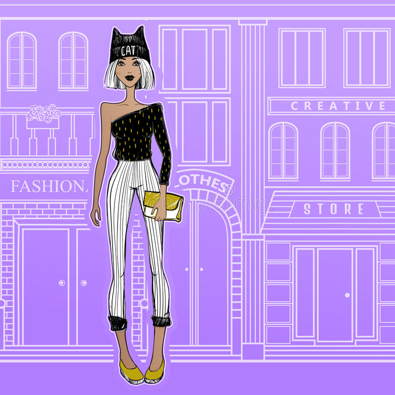 Adatti la ragazza sulle vie di Parigi, camminanti ai negozi royalty illustrazione gratis