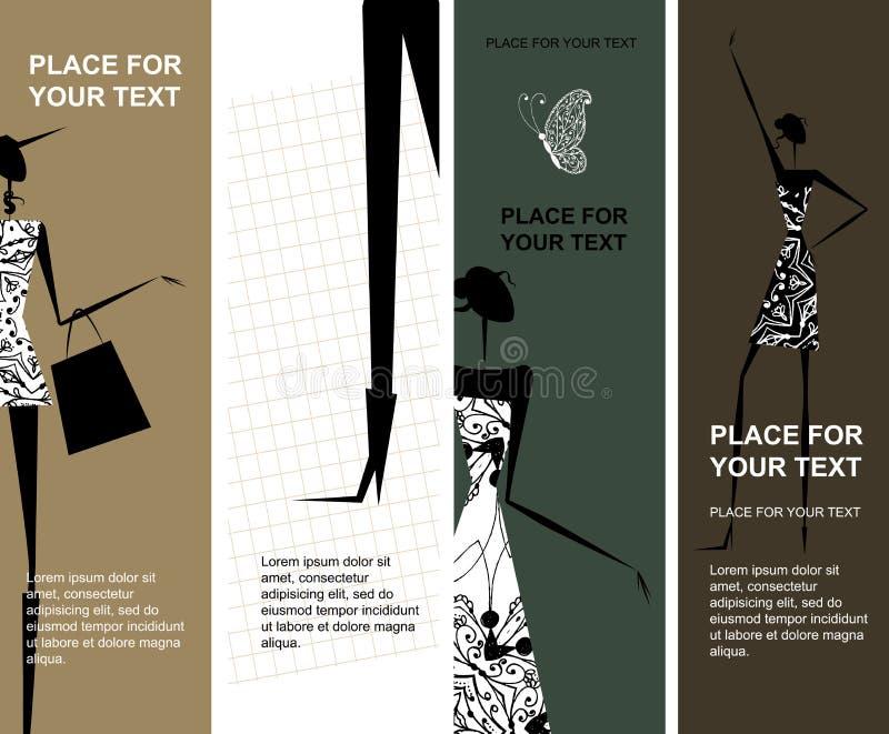 Adatti le ragazze, bandiere con il posto per il vostro testo royalty illustrazione gratis