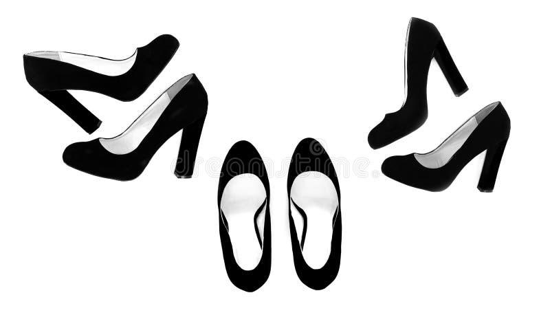 Adatti le scarpe delle donne con un ampio tallone, vista superiore, isolata fotografia stock libera da diritti
