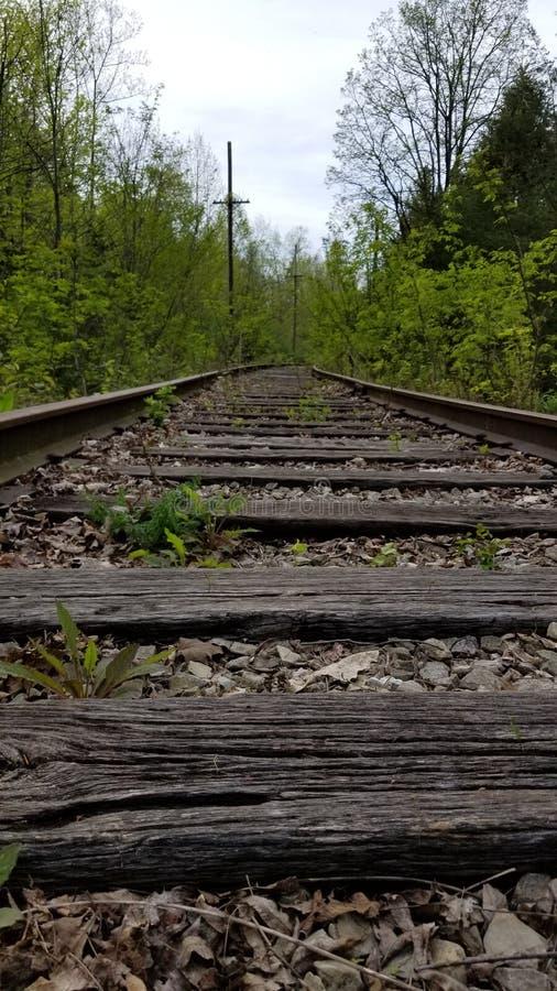 Adbandoned järnvägspår arkivfoto