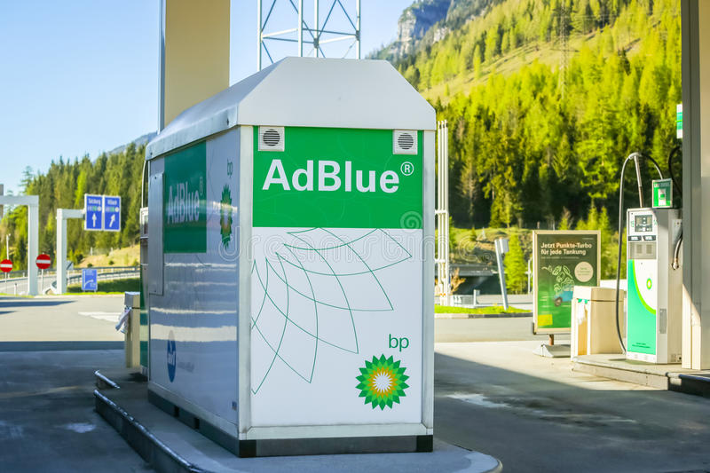 AdBlue tank at filling station stock image