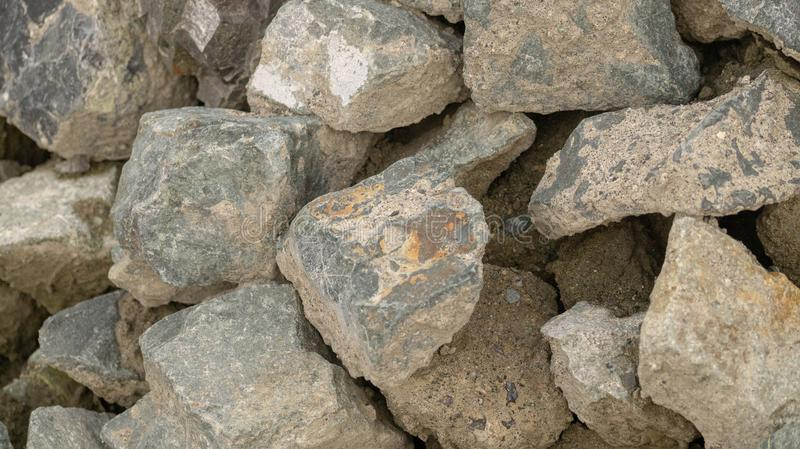 Rocks. And Concrete Piled Together royalty free stock photography