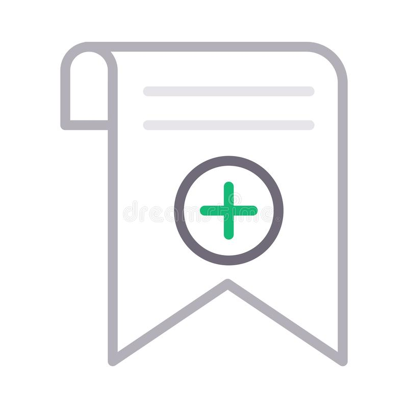 Add bookmark tag thin color line vector icon. Add bookmark tag vector icon. Elements for mobile concept and web apps. Thin line icons for website design and royalty free illustration