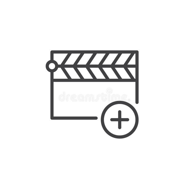 Add clapper line icon royalty free illustration