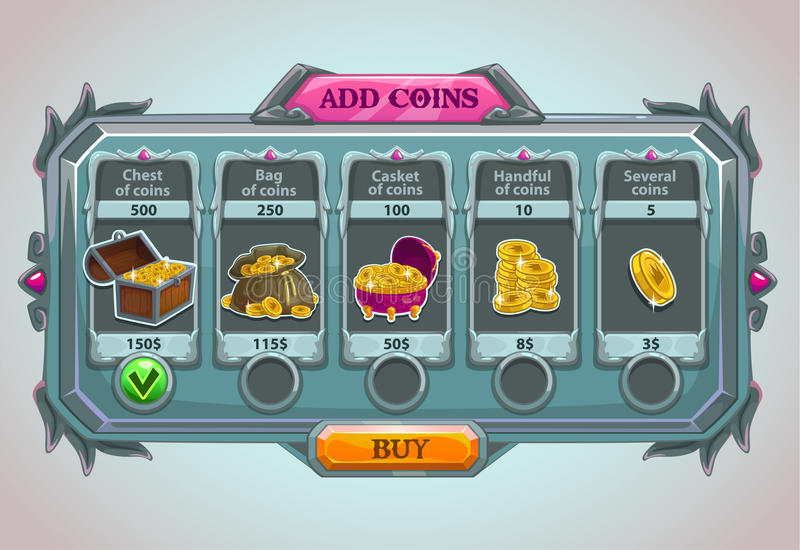 Add coins panel. Epic game asset with coins icons and buttons vector illustration