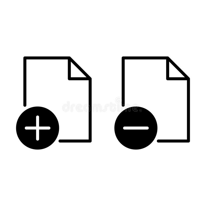 Add - Delete file icon, vector illustration. On white background stock illustration