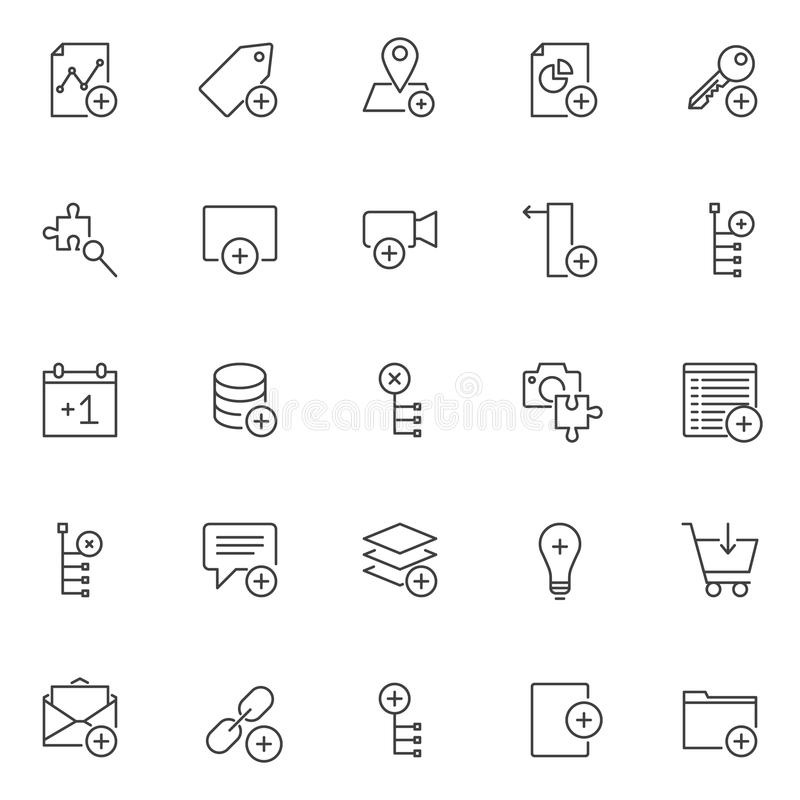Add elements outline icons set. Linear style symbols collection, line signs pack. vector graphics. Set includes icons as add graph, tag, location, pie chart stock illustration