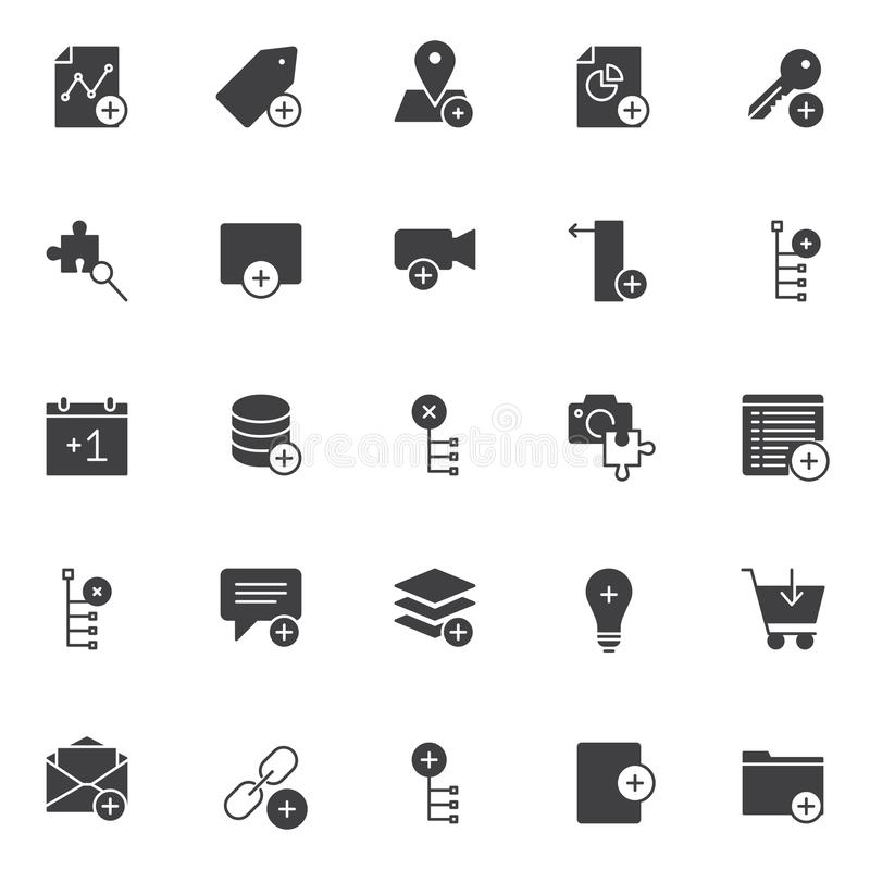 Add elements vector icons set. Modern solid symbol collection, filled style pictogram pack. Signs logo illustration. Set includes icons as graph, tag, location stock illustration