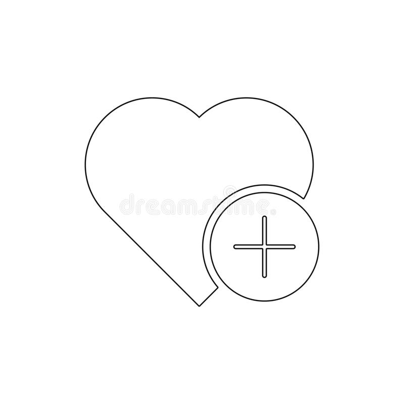 Add favorite heart like love plus outline icon. Signs and symbols can be used for web, logo, mobile app, UI, UX stock illustration