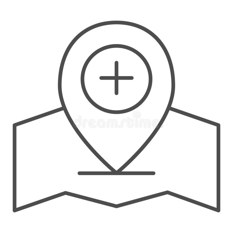 Add location pin thin line icon. Gps pin vector illustration isolated on white. Map pointer and plus outline style stock illustration
