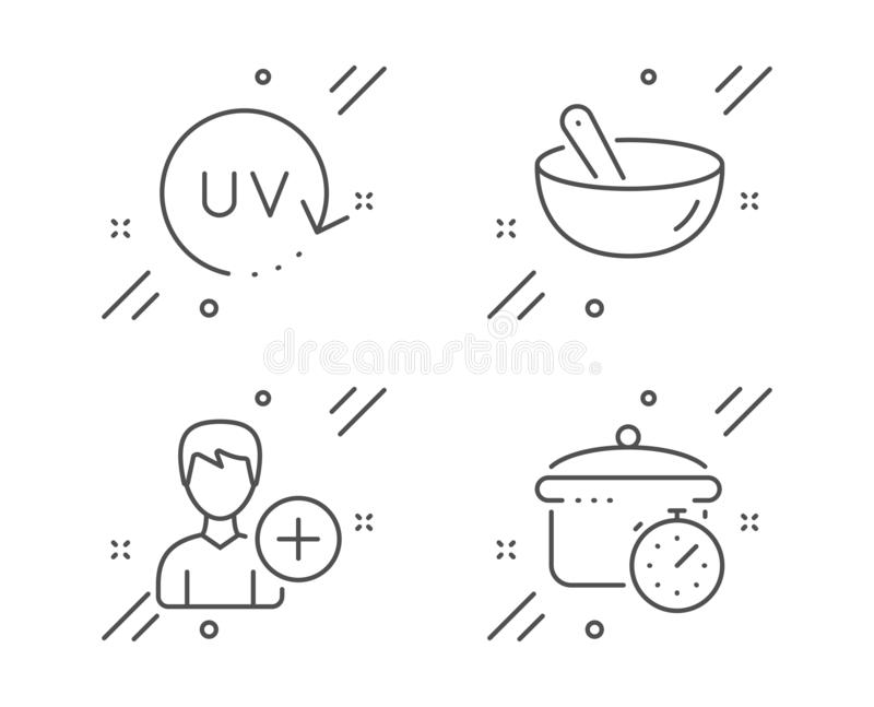Add person, Uv protection and Cooking mix icons set. Boiling pan sign. Edit user data, Skin cream, Bowl. Vector stock illustration