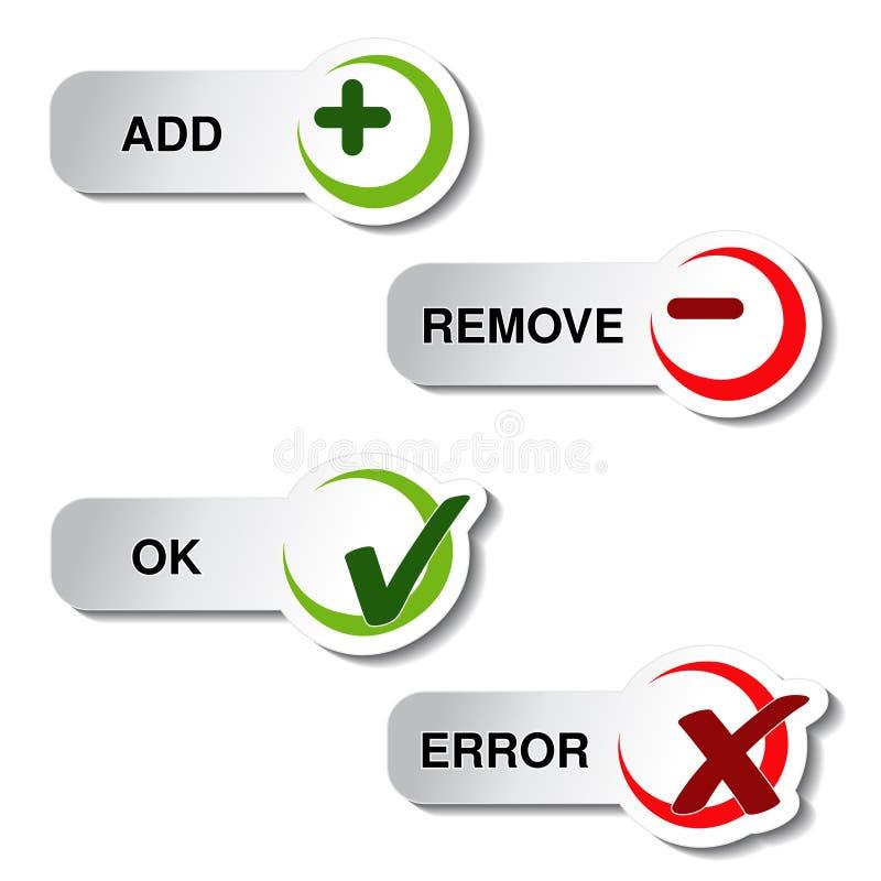 Add quita y artículo aceptable del error - botón stock de ilustración