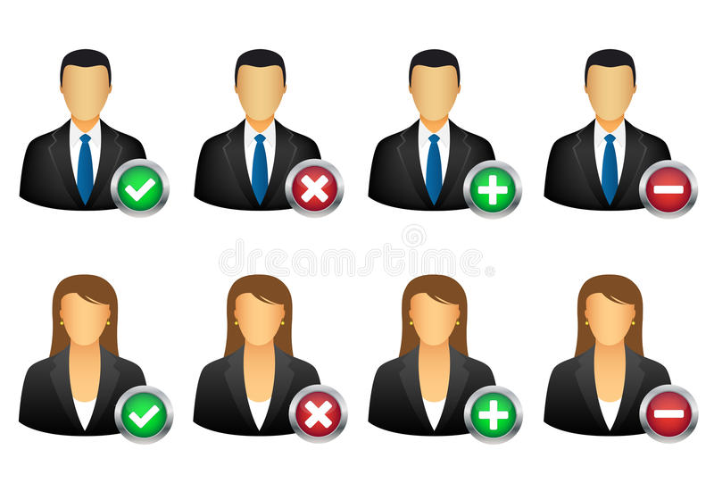 Add remove user icons. Set of add and remove user icons royalty free illustration