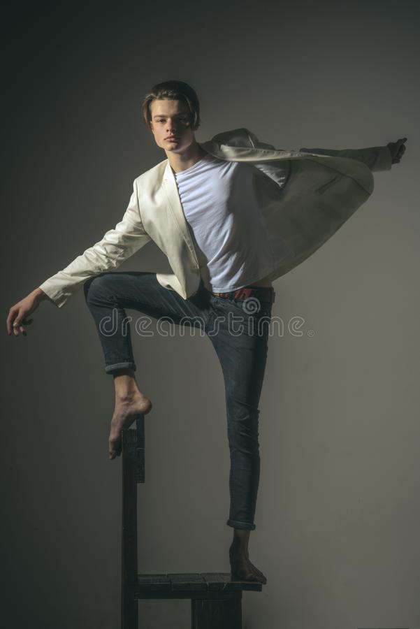 Add some action to your life. Modern male. Fashion man with mystery look. Hair style and skincare. Beauty and fashion stock photography