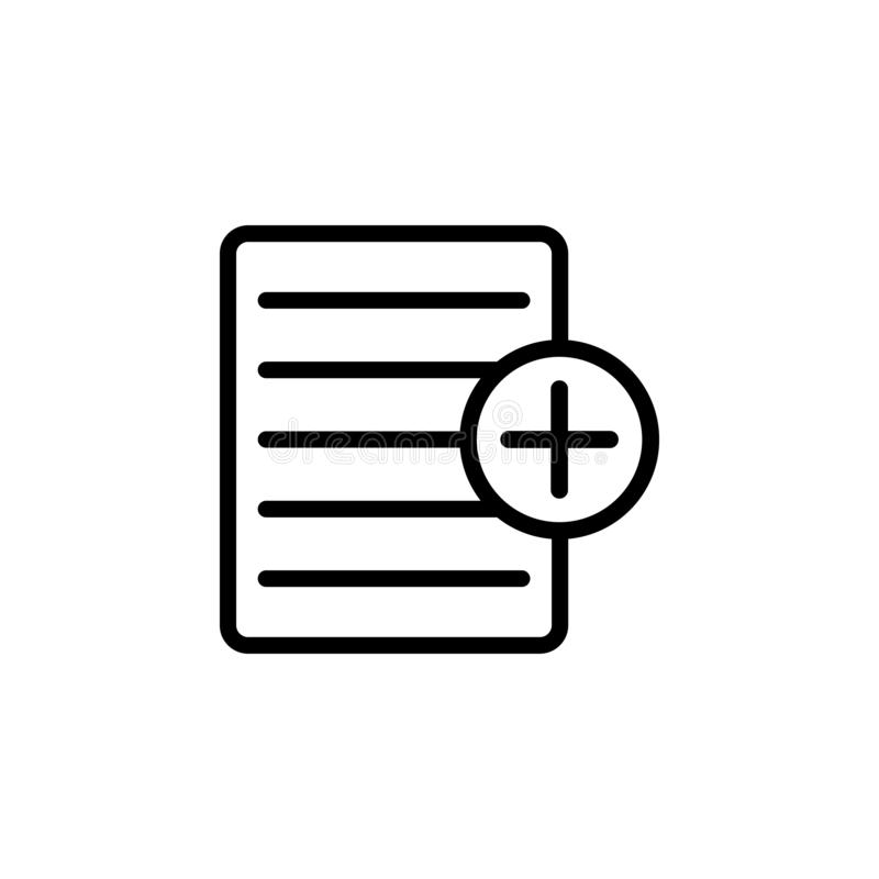 Add text file plus icon. Simple thin line, outline vector of Web icons for UI and UX, website or mobile application stock illustration