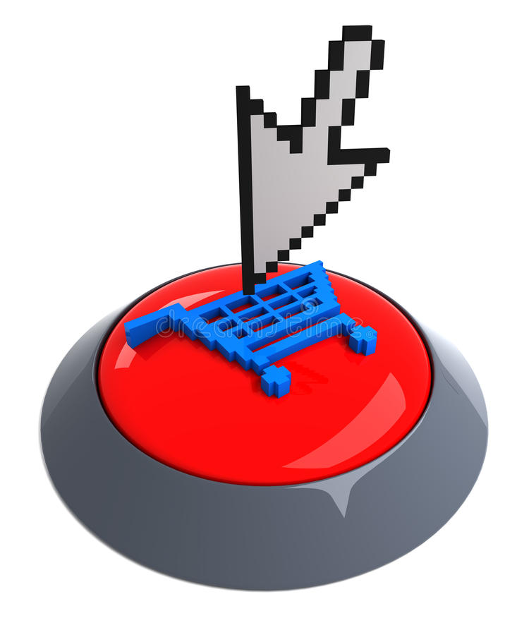 Add to cart button. 3D render stock illustration