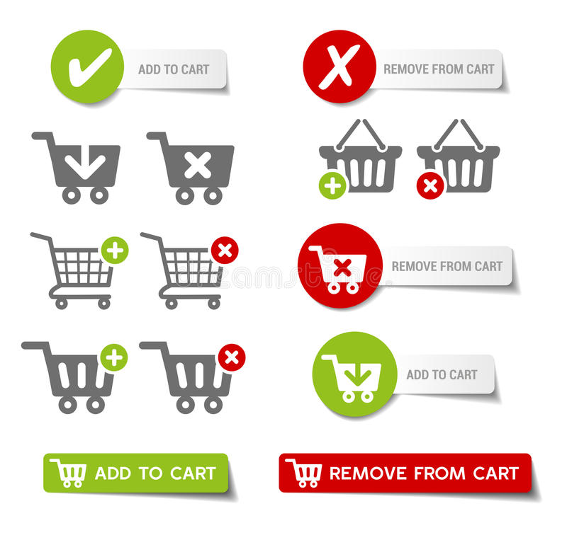 Add to Cart Buttons. Collection of sales buttons and 'add to cart' buttons stock illustration