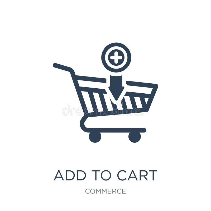 Add to cart icon in trendy design style. add to cart icon isolated on white background. add to cart vector icon simple and modern. Flat symbol for web site stock illustration