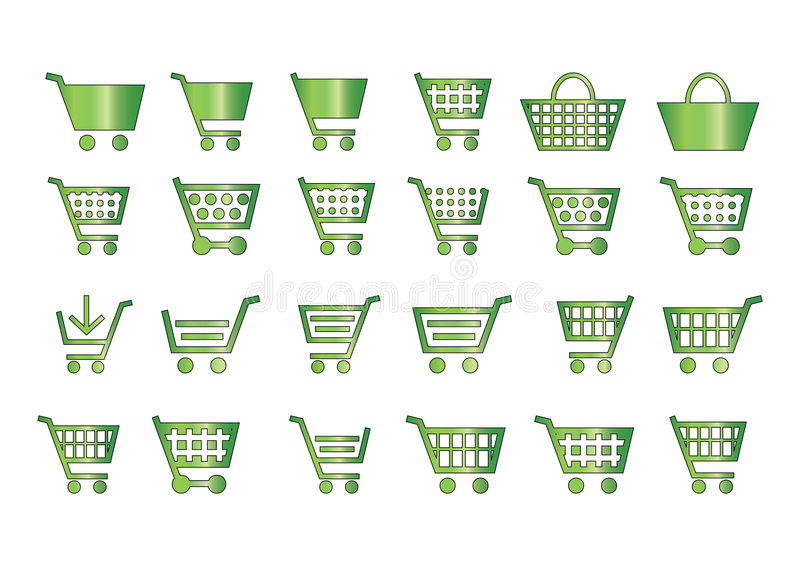 Download Add to cart icons green stock illustration. Image of center - 5632161
