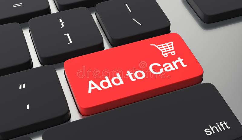 Add to cart button. Shopping online concept. Add to cart text on keyboard button. Shopping online concept royalty free illustration