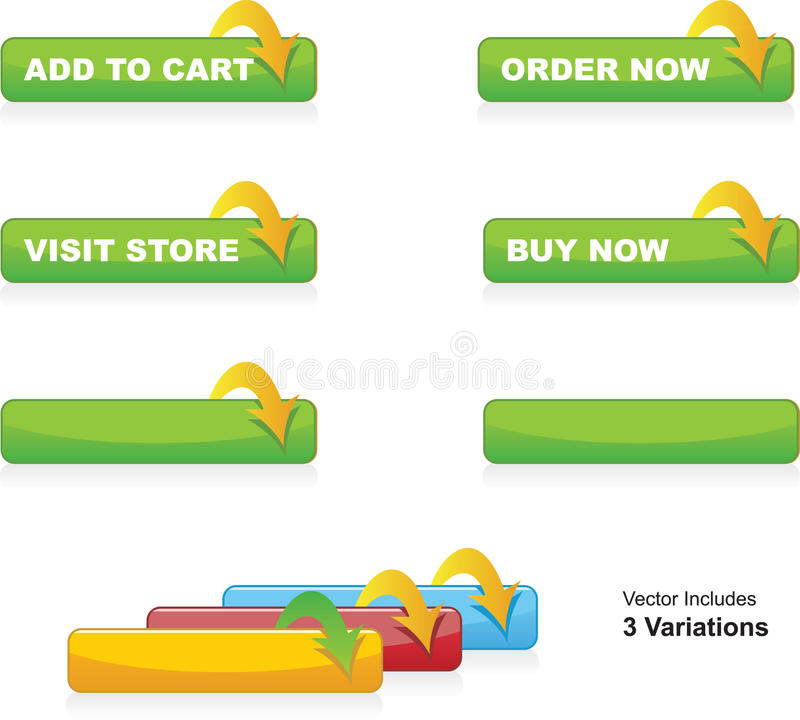 Add to Cart, Order, Buy Now & Visit Store Buttons stock illustration