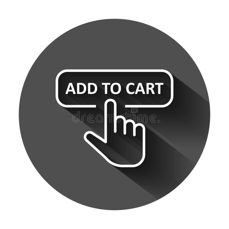 Add to cart shop icon in flat style. Finger cursor vector illustration on black round background with long shadow. Click button vector illustration