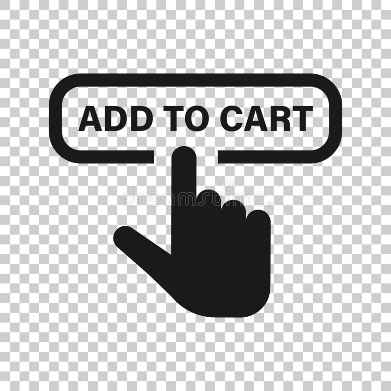 Add to cart shop icon in transparent style. Finger cursor vector illustration on isolated background. Click button business. Concept vector illustration