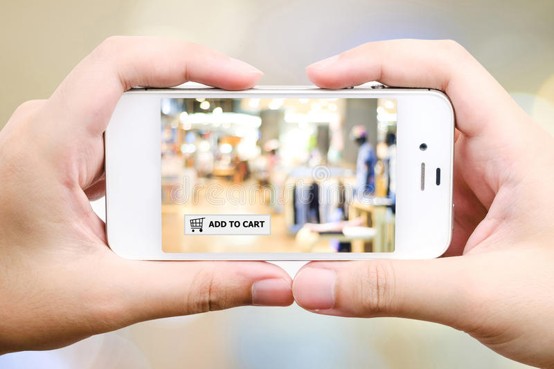 Add to cart on smart phone, business, E-commerce. On line shopping background stock images
