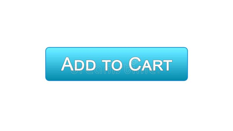 Add to cart web interface button blue color, online shopping application. Stock footage stock illustration