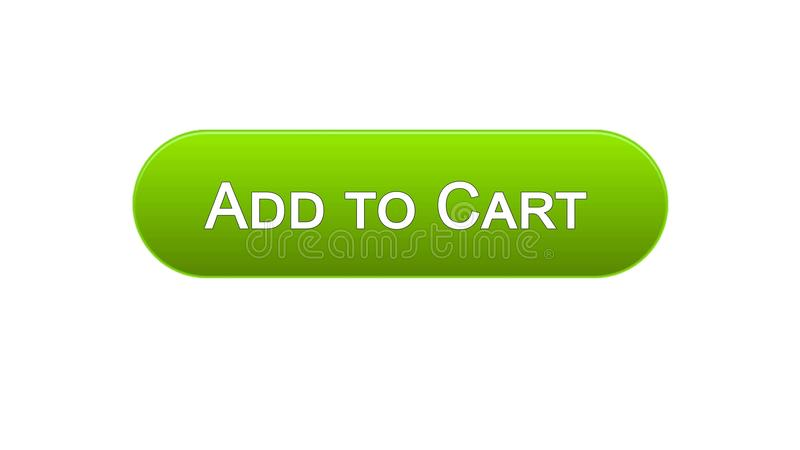 Add to cart web interface button green color, online shopping application. Stock footage royalty free illustration