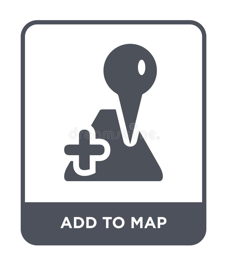 Add to map icon in trendy design style. add to map icon isolated on white background. add to map vector icon simple and modern. Flat symbol for web site, mobile stock illustration