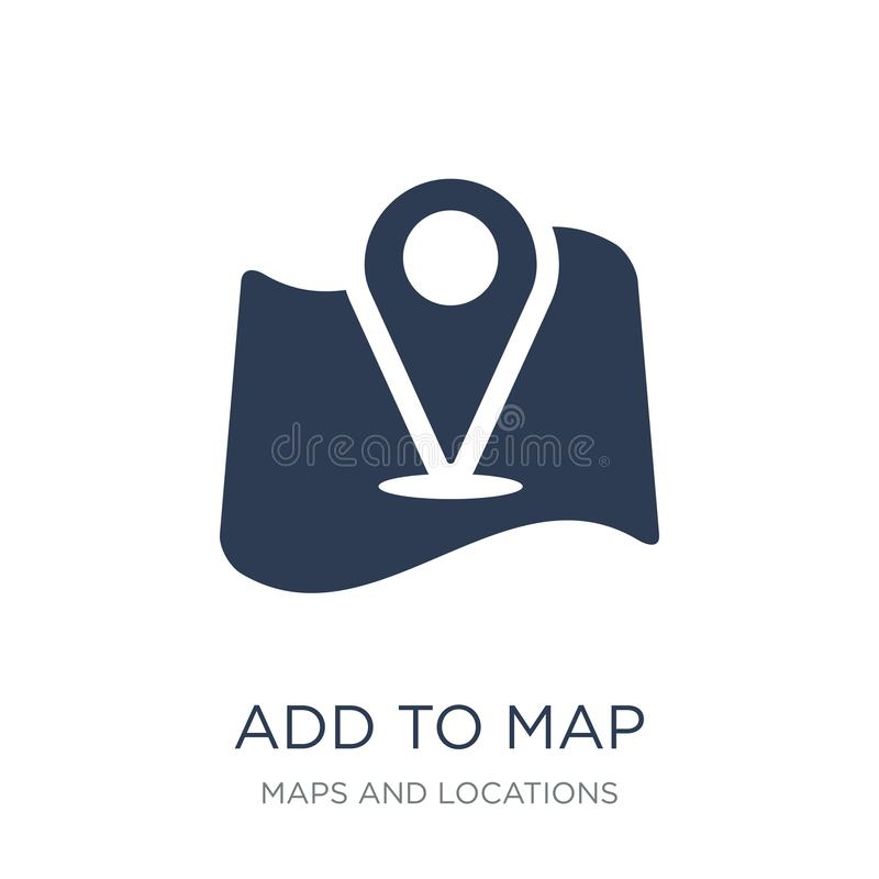 Add to Map icon. Trendy flat vector Add to Map icon on white background from Maps and Locations collection. Vector illustration can be use for web and mobile stock illustration