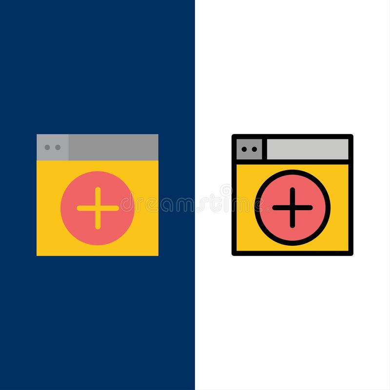 Add, Window, New, Graphics, App  Icons. Flat and Line Filled Icon Set Vector Blue Background royalty free illustration