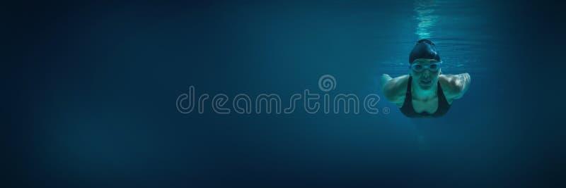 Addestramento atletico del nuotatore sui suoi propri immagini stock