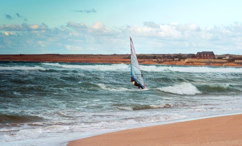 Addestramento attivo del Windsurfer di svago dell'acqua di navigazione di sport di windsurf del mare fotografia stock