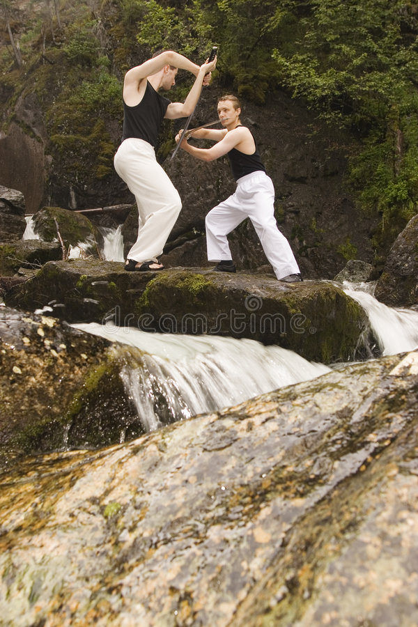 Addestramento degli Swordsmen esterno fotografia stock