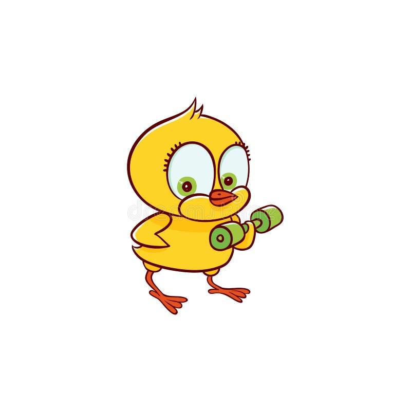 Addestramento del carattere del pollo del bambino con una testa di legno