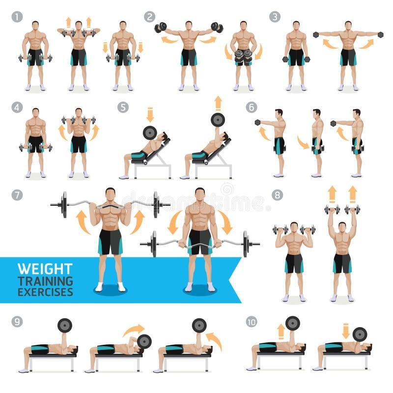 Addestramento del peso di esercizi e di allenamenti della testa di legno illustrazione di stock