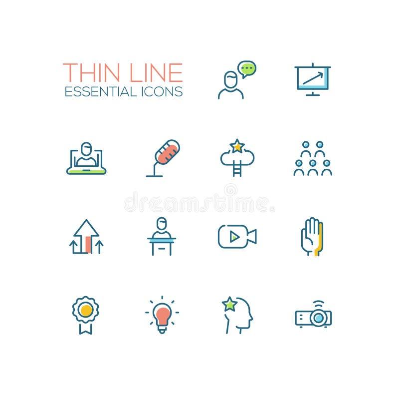 Addestramento di affari - singola linea sottile icone messe royalty illustrazione gratis
