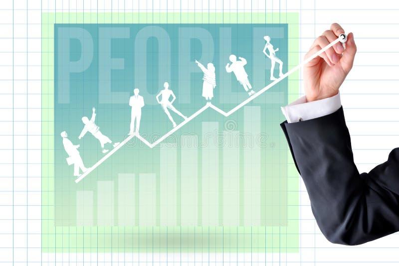 Addestramento di carriera e concetto di sviluppo con la mano dell'uomo d'affari ed il grafico del grafico fotografie stock libere da diritti